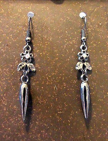 Gun Metal Gray Victorian Spike Earrings with Rhinestone Accents