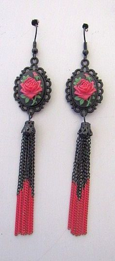 Black & Red Rose Cameos with Matching Chain Tassel Earrings