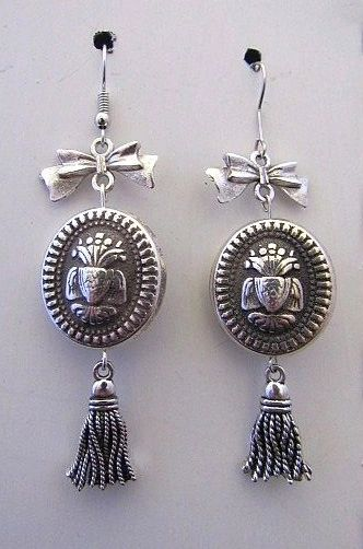 Silver Victorian Flower Urn Bead Earrings with Bows & Tassels