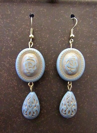 Baby Blue Victorian Rose Beads with Etched Drops Earrings