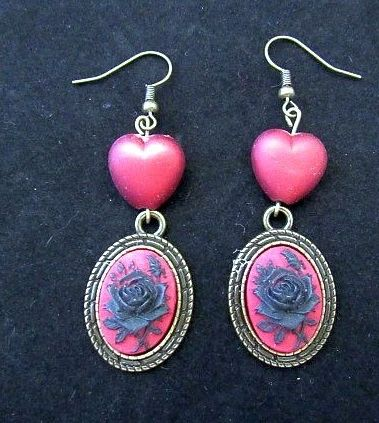 Red & Black Victorian Rose Cameos with Red Heart Bead Earrings