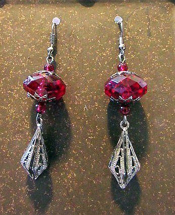 Deep Red Beads with Gun Metal Gray Filigree Dangle Victorian Earrings