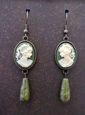Green & White Victorian Lady Cameos with Green Stone Drop Earrings