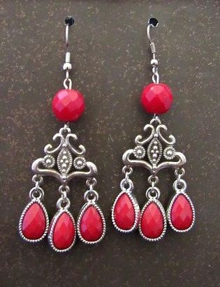 Red & Silver Victorian Chandelier Earrings