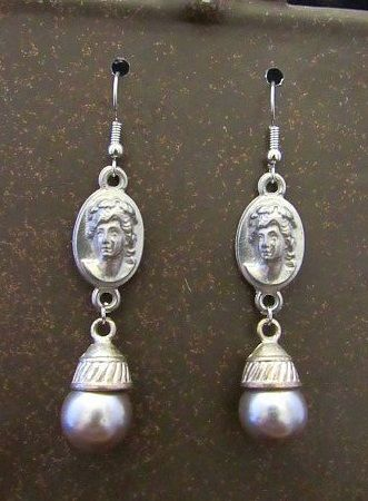 Muted Silver Victorian Cameo Earrings with Ball Drops