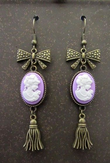 Lavendar Victorian Cameos with Gold Bows & Tassels Earrings