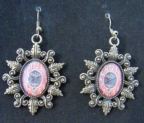 Victorian Sunburst Bezel with Clock Insert Earrings