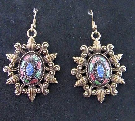 Victorian Sunburst Bezel witj Colorful Vintage Stones Earrings