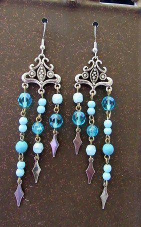 Silver Chandeliers with Blue & Silver Dangles