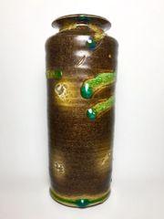 Brown and Blue Cylinder Vase