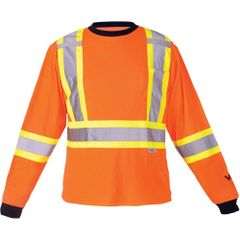 "SDP392 Safety Long Sleeve Dual chest straps 2"" Reflective on 4"" Contrasting tape Shirt High Visibility Orange VIKING #6015O"