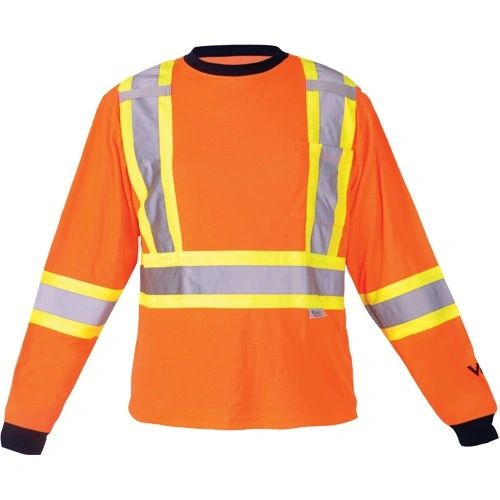"""SDP392 Safety Long Sleeve Dual chest straps 2"""" Reflective on 4"""" Contrasting tape Shirt High Visibility Orange VIKING #6015O"""