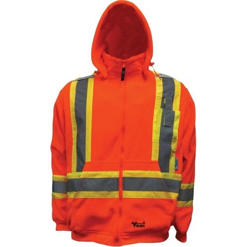 """SDN679 Safety Fleece Hoodie Sweater.Hi-Vis 2"""" Vi-Brance® reflective tape in 4"""" WCB Thermal protective layer VIKING ALLIANCE PLASTICS #6420JO"""