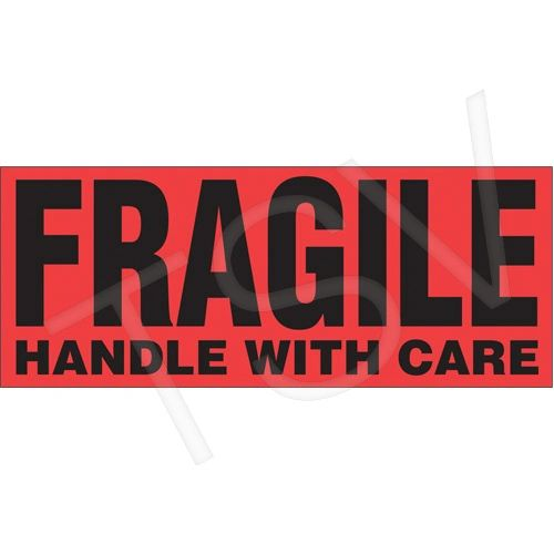 "PB419 ""Fragile Handle With Care"" Label 2"" x 5"" 500/ROLL PAKMARK #P5"
