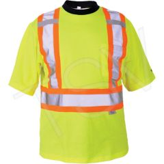 SDP407 Safety T-Shirt High Visibility Lime-Green CSA Z96 Class 2, Level 2 Reflective Stripe Colour: Silver/Orange Polyester (Med-3XL) VIKING
