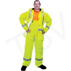SEH113 Premium Traffic Rainsuit High Visibility Lime-Yellow Reflective Stripe Silver (SML-3XL) ZENITH #RZ900