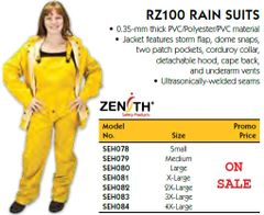 SEH078 Rainsuit Material: Polyester/PVC 0.35-mmThick WITH BIB PANTS (SML-3XL) #RZ100 ZENITH