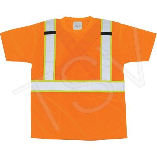 SEL243 CSA Compliant T-Shirts Background Orange Reflective Stripe: Silver/Yellow (Sz Med-2XL) Zenith