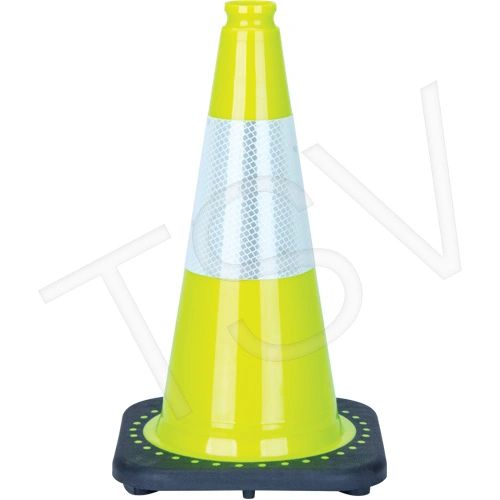 """SDS934 Traffic Cones 18"""" OR 28"""" LIME GREEN (QC, ON, AB) 6"""" REFLECTIVE COLLAR Distancing"""
