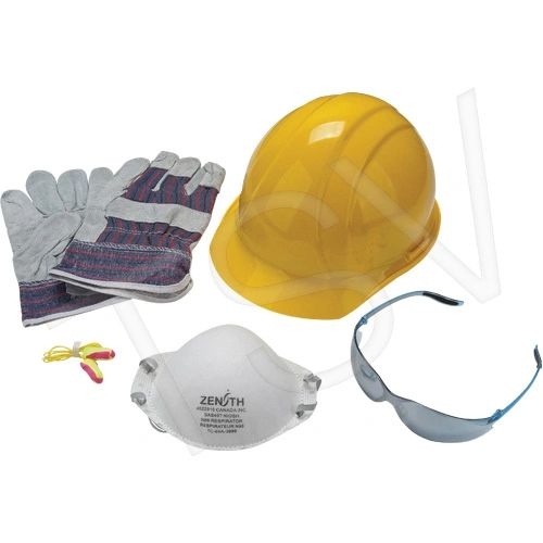 SEH890 Worker 5 Piece Starter Kit or Temp Employee 1 N95 MASK, Glasses, Gloves, Ear Plugs (Yel, White or Blue Hat) ZENITH
