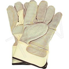 SD604 Standard Quality Double Palm Split Cowhide Fitters Glove, Outside Double Palm, Index Finger & Finger Tips