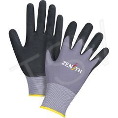 SDP438 ZX-1 Premium Nitrile BLACK Foam Palm Coated Gloves 15 Gauge Liner: Nylon Coating (SZ 6-11) ZENITH