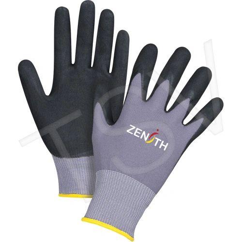 SDP438 ZX-1 Premium Nitrile BLACK Foam Palm Coated Gloves 15 Gauge Liner: Nylon Coating (SZ 6-11) ZENITH