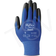 SEI717 HyFlex ® #11-618 Gloves, Ultra-light 18 Gauge Nylon Coating: Polyurethane (SZ 7-10) ANSELL