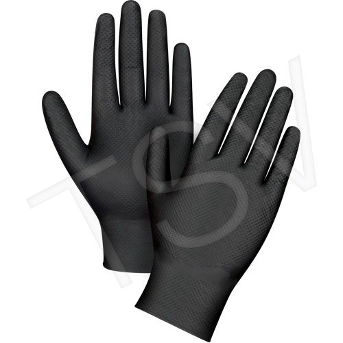 "SDL990 Heavyweight Black Nitrile Gloves Powder-Free 9.5""L 8-mil ZENITH (SZ XSM-2XL) 50 per BOX"