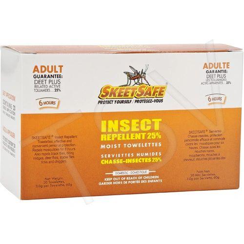 ***DISCONTINUED*** JD314 SkeetSafe® Insect Repellent Towelette DEET Concentration: 25% 6 HOURS 50g SKEETSAFE 20 per BOX