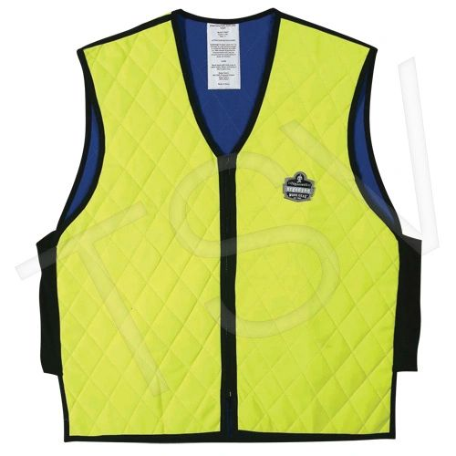 SAP936 Chill-Its® 6665 Cooling Vests LIME YELLOW Water Repellent Liner V-Neck w/Zipper (Med-3XL) ERGODYNE