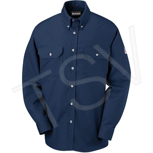 SED628 Flame-Resistant Cool Touch® 2 Button Front Deluxe Shirts Navy Blue Arc Rating: 10.1 cal/cm² NFPA #2112 BULWARK (SML-2XL)