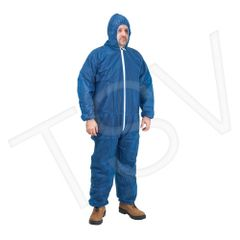 SEK356 Polypropylene Coveralls Blue Elastic Wrists, Ankles, Hood+Front zipper ZENITH