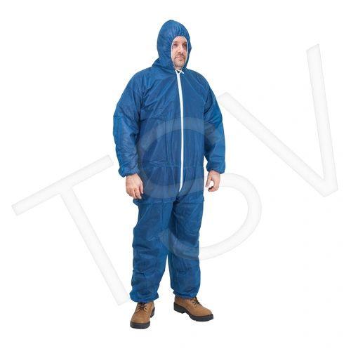 SEK356 Polypropylene Coveralls Blue Elastic Wrists, Ankles, Hood+Front zipper (MED-5XL) ZENITH