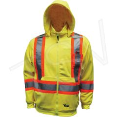 "SDP424 Safety Fleece Hoodie Sweater.Hi-Vis LIME 2"" Vi-Brance® reflective tape in 4"" WCB Thermal protective layer VIKING ALLIANCE PLASTICS #6420JG"