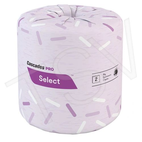 JH117 Bathroom Toilet Paper 2PLY 420SHEET Wrapped Standard Roll Length: 149' Colour: White 48/CS CASCADES PRO SELECT B021