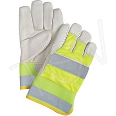 SEK239 Premium Quality High-Viz Grain Cowhide Fitters Gloves YELLOW or ORANGE SZ: LARGE Unlined Leather Palm ZENITH