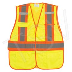 SEK232 Traffic Vests, CSA Compliant Surveyor High Visibility Lime-Yellow Reflective Stripe Colour: Silver/Orange Polyester (SZ's MED-2XL) ZENITH