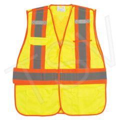 SEK232 Traffic Vests, CSA Compliant Surveyor High Visibility Lime-Yellow Reflective Stripe Colour: Silver/Orange Polyester (SZ's MED-2XL) ZENITH