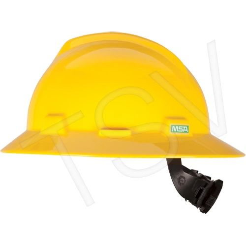 SDL493 V-Gard ® Full Brim Hardhat Suspension Ratchet ANSI Type I/CSA (YEL/GREY/WHI) MSA