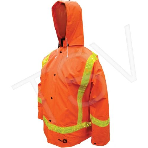SDP048 Open Road FR PVC Rainsuit Jacket/Hood/BibPants Included (SZ's SML - 3XL) #2110FR-S VIKING
