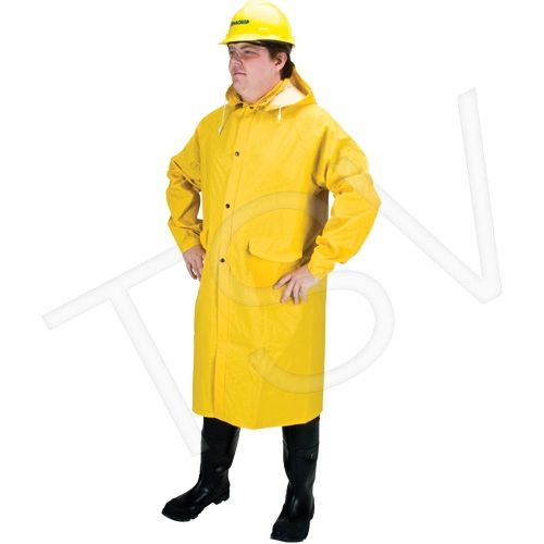 SEH086 RZ200 Long Coat Rainsuit Material WITH detachable Hood Polyester YELLOW (SZ's MED - 4XL) ZENITH