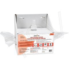 """SEE380 Disposable Lens Cleaning Station 8oz (237ml) Bottle 600 Tissue : 8""""Lx4""""Dx8""""H ZENITH"""