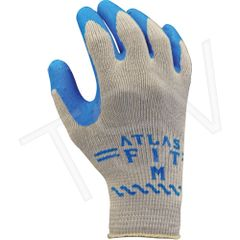 SAO815 Atlas Fit ® 300 Rubber Latex BLUE PALM Coated Knit Wrist Back Gloves 10 Gauge Liner: Polyester/Cotton SHOWA (SZ's SML - XLR)