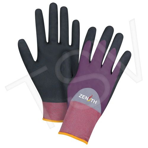 SDP444 ZX-2 Premium 3/4 Nitrile Foam Palm Coated Gloves 18Gauge SHELL Nylon Coating WET/DRY/OILY GRIP ZENITH (