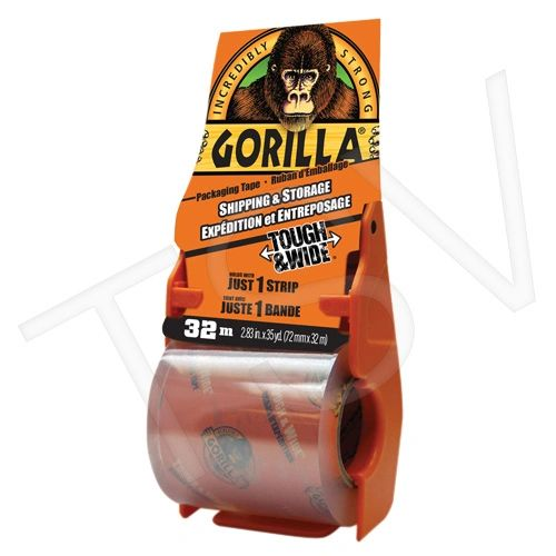 "NKA490 Packaging Tape Hand Adhesive CLEAR Acrylic ON-THE-GO Width: 72 mm (3"") Length: 32 m (105') GORILLA. #614500"