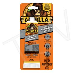 AF414 Gorilla Construction Adhesive Smaller Projects Format: 2.5 oz. Container Type: Tube Colour: White Application Time: 10 min. GORILLA #8120001