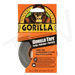 "NKA488 Gorilla Duct Tape To-Go Width: 25.4 mm (1"") Length: 9.14 m (30') Thickness: 17 mils BLACK GORILLA #6100102"
