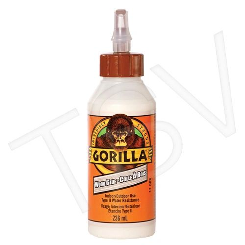 NKA491 Gorilla Wood Glue Format: 8 oz. Container Type: Squeeze Bottle Max. Required Application Time: 10 min. Max. Required Clamp Time: 30 min.GORILLA #6200201