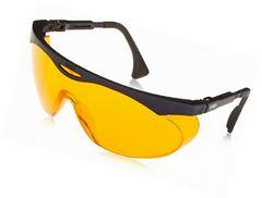 131-6075 Skyper Safety Glasses 98% Blue Light Blocker Safety Glasses STC-ORANGE UV Extreme Anti-Fog Lens Black Frame, Wrap Around Style Side Protection Uvex HoneyWell #S1933X